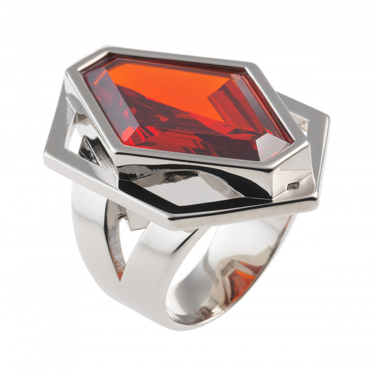 Artikel Nr. 22015: Graphic Ring Cirolit Orange, rhodiniert